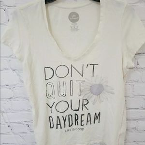 Life Is Good Womens Medium White V-Neck Daydream